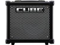 """Roland CUBE-10GX  Amplificador para Guitarra Combo Roland Cube-10GX - Timbres personalizados para Improvisar e Ensaiar   Amplificador de guitarra compacto de 10 watt com altifalante de 8""""  3 Tipos de amp COSM predefinidos: Clean, Crunch e Lead  Substitua os amps predefinidos com amps COSM personalizados através da aplicação gratuita CUBE KIT para dispositivos iOS e Android  3 Efeitos integrados: chorus, delay e reverb (incluindo tipos de plate e spring reverb)  Controlos de timbre Bass, Middle e Treble  Jack de saída Rec e para auscultadores fornece timbres diretos de alta qualidade para gravação e ensaio silenciosos  Jack Aux In para improvisar com um leitor de música externo"""