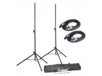 Adam hall SPS 023 SET 2   Conjunto de suporte para alto-falantes com bolsa de transporte e cabos de alto-falante: inclui 2 suportes de alumínio para alto-falantes (SPS023), uma bolsa de transporte e 2 cabos de alto-falantes padrão.