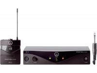 AKG PW45 Instrumental   O Perception Wireless é projetado para atender os músicos e técnicos de áudio em nível inicial. Possui até 8 canais por banda. A linha Perception Wireless Instrumental consiste em um transmissor PT 45, mais um cabo de instrumento um receptor SR 45