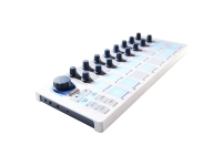 Arturia BeatStep   O Arturia BeatStep oferece uma gama de características de funcionalidade e desempenho. O BeatStep apresenta 16 codificadores pode ser atribuídos, 16 pads/botões e 16 presets, procionando-lhe um flexível pad controlador. O BeatStep permite que você acionar os clipes de áudio usando o pads dentro de ambientes de software, tais como Ableton Live Live , ou tocar tambores com FXpansion BFD e Toontrack EZdrummer. Usar o pads para acionar clipes e, em seguida, usar os 16 codificadores para control parâmetros e configurações, permitindo em tempo real control. A 16 pads são velocidade e sensível à pressão. Eles podem ser usados para criar performances de percussão dinâmico e são convenientemente iluminados, permitindo-lhe ver e executar em situações de pouca luz. Se você está trabalhando com sua DAW, instrumento VST ou efeito, software de tambor, DJ app, sintetizador MIDI ou equipamento analógico, o BeatStep dá-lhe a control você precisa.
