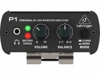 Behringer Amplificador de Auricular P1  Amplificador de Auricular P1  amplificador de auricular para uso em palco ou em estúdio com duas entradas XLR e reguladores de nível de potência sonora e de panorâmica; estrutura leve, portátil e bastante resistente; funcionamento a baterias de 9 V com autonomia de até 12 horas; possibilidade de encaixe em stand de microfone; clipe de fixação à roupa; limitador de picos para proteção dos ouvidos.