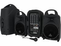 Behringer Sistema de Som Portátil PPA500BT STER  Sistema de Som Portátil PPA500BT STER  sistema de som portátil constituído por um par de colunas, uma mesa de mistura amplificada com 500 W de potência e um microfone Behringer Xm1800S; design inteligente para melhor arrumação, numa estrutura única de fácil transporte; dois canais mono e dois canais estéreo; conetividade Bluetooth; possibilidade de utilização de microfones sem fios através da porta USB para ligação do transmissor; equalizador gráfico de cinco bandas com sistema FBQ; processador de efeitos Klark Teknik com 99 efeitos.