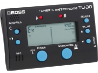 Metrónomo / Afinador BOSS TU-30 Afinador e Metrónomo Afinador / Metrónomo Boss TU-30 Cromático Sintonizador profesional BOSS y metrónomo versátil Admite afinación cromática, guitarras, bajos y afinación plana La útil función Accu-Pitch emite un sonido cuando alcanza el tono correcto La función de referencia de tono facilita la comprobación del tono de oído El metrónomo tiene varios estilos rítmicos y visualización visual. Entrada de instrumento para afinar guitarras eléctricas, bajos y otros instrumentos Micrófono integrado para afinar instrumentos acústicos Alimentado por dos pilas AAA