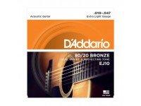 Jogo de cordas .010 D'ADDARIO Jogo Cordas Bronze Guitarra Acústica  EJ10  Jogo de Cordas de Bronze para Guitarra Acústica D'ADDARIO EJ10
