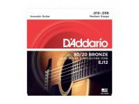 Jogo de cordas .013 D´Addario Jogo Cordas Guitarra Acústica Bronze Daddario EJ12 013-056  Jogo de Cordas para Guitarra Acústica Bronze Daddario EJ12 013-056