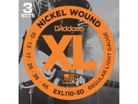 Conjunto de 3 jogos de cordas D´Addario EXL110-3D 10-46