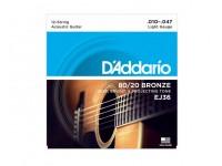 Jogo de cordas .010 D´Addario Jogo 12 Cordas Guitarra Acústica D'ADDARIO EJ36 .010-.047  Jogo de Cordas de Bronze para Guitarra Acústica D'ADDARIO EJ36