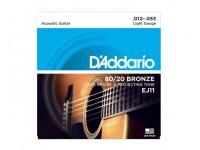 Jogo de cordas .010 D´Addario Jogo Cordas 012 Guitarra Acústica EJ11 012-053  Jogo de Cordas 012 para Guitarra Acústica Daddario EJ11 012-053