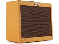 """Fender Blues Junior Lacquered Tweed  Fender Blues Junior Amplificador de guitarra combo Tweed lacado  Blues Jr. transforma el preciado amplificador de 15W de Fender y le da el verdadero tratamiento vintage con una cubierta de tweed lacada y un altavoz vintage Jensen de 12 """". Sus tonos vintage se generan a través de un par de válvulas de salida EL84 y 3 válvulas de preamplificador 12AX7."""