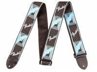 Correia de nylon Fender Monogrammed Strap, Black Light Blue Grey Blue