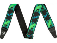 Fender Neon Monogram Guitar Strap - Green/Blue
