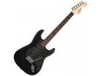 """Fender Squier Affinity Fat Strat MBK SPRKL HDW   Guitarra Eléctrica Fender Squier Stratocaster Affinity Montego Black   Material do corpo: Alder    Acabamento do corpo: Poliuretano    Forma do corpo: Stratocaster®    Material do braço: Maple    Acabamento do braço: Poliuretano    Forma dobraço: Forma «C»    Comprimento: 25.5"""" (648mm)    Escala: Rosewood    Raio:9.5"""" (241 mm)    Número de trastes: 21    Tamanho do traste: Medium Jumbo    Pestana: osso sintético    Largura: 1.61"""" (40.9 mm)    Posição Inlays: Dot    Headstock: grande, estilo '60s    Placa do braço: standard 4 parafusos    Pickupda ponte: Humbucking Standard    Pickup do meio: Standard Single-Coil Strat®    Pickup do braço: Standard Single-Coil Strat®    Controlos: Volume Master, Timbre1. (Pickup do braço), timbre 2. (Pickup do meio)    Comutação Pickup: Blade 5posições: Posição 1. Pickup ponte, Posição 2. Pickup ponte e meio, Posição 3. Pickup do meio, Posição 4. Pickup do meio e braço, Posição 5. Pickup do braço    Configuração de Pickup: HSS    Hardware da ponte: Tremolo sincronizado de estilovintage 6-Saddle    Acabamento do hardware: cromado    Tremolo: Standard    Carrilhões: Standard fundidos    Pickguard: 3 camadas, preto    Knobs de Controlo: Plástico preto    Pontas dos selectores: preto    Cordas: Fender® USA 250L, NPS,(espesuras: .009-.042)    Características únicas: Headstock grande do estilo'60s, Partes de plástico branco, Logo serigrafado preto, Dot Inlays"""