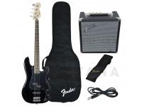 Baixo elétrico de 4 cordas Fender Squier Affinity Precision PJ Bass Pack Black B-Stock