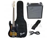 Baixo elétrico de 4 cordas Fender Squier Affinity Precision PJ Bass Pack Brown Sunburst