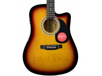 Guitarra Dreadnought Fender Squier SA-105CE Sunburst   Tampo laminado de abeto  Fretboard de pau-rosa 20 frets  Ponte Jacarandá
