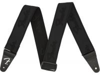 Fender Weightless Running Logo Guitar Strap - Black/Black