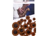 Gewa  Jogo de Sapatilhas para Saxofone Alto  730762  Jogo de Sapatilhas para Saxofone Alto Gewa 730762    -Couro castanho com prato ressonante de plástico  -Saxofone alto