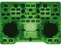 Controladores DJ Hercules DJ Control Glow   Estrutura transparente  Iluminação fluorescente  USB  2x jog wheels  Crossfader.