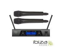 Ibiza Central de Microfones UHF s/ fios c/ 2 Canais