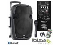 "Colunas Amplificadas Ibiza HYBRID10VHF-BT   Coluna Amplificada 10"" 200Wrms/400Wmáx  Leitor Multimédia USB / SD / REC e Bluetooth  1 Microfone s/ fios, c/ comando, 80-20.000Hz"
