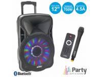 """Colunas Amplificadas Party Light & Sound PARTY-12LED   Coluna Amplificada 12"""" c/ 700W potência  Leitor Multimédia USB / SD / FM e Bluetooth  1 Microfone de mão VHF s/ fios, c/ comando IR"""