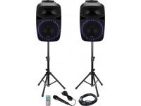 Ibiza PKG15A-SET B-Stock   Conjunto colunas c/ suportes, MIC e comando  Potência RMS: 2x250Wrms (2x500Wmáx) 98dB  Leitor Multimédia Bluetooth, FM, USB e SD