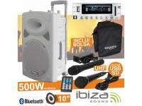 """Colunas Amplificadas Ibiza PORT10UHF-BT WHITE   Coluna Amplificada 10"""" 250Wrms/500Wmáx  Leitor Multimédia USB / SD / REC e Bluetooth  2 Microfones UHF 863MHz (1 s/fios), comando"""
