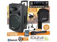 """Colunas Amplificadas Ibiza PORT12UHF-BT   Coluna Amplificada 12"""" 350Wrms/700Wmáx  Leitor Multimédia USB / SD / REC e Bluetooth  2 Microfones UHF 863MHz, comando"""