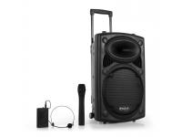 """Ibiza PORT12VHF-BT B-Stock   Sistema ativo potártil com altifalante de 12"""" (30 cm), com leitor USB, Bluetooth, dois microfones sem fio VHF, etc... (Com alimentação a 220V ou a Bateria)"""