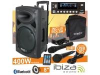 """Colunas Amplificadas Ibiza PORT8UHF-BT B-Stock   Coluna Amplificada 8"""" 200Wrms/400Wmáx  Leitor Multimédia USB / SD / REC e Bluetooth  2 Microfones UHF 863MHz (1 s/fios), comando"""