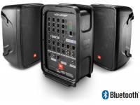 """JBL Eon 208P  Sistema compacto amplificado (tudo em um) com duas colunas 8"""" de duas vias, mesa de mistura de 8 canais e Bluetooth."""