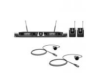 LD Systems U505 BPL 2   LD Systems U505 BPL 2  Sistema sem fio UHF com 2 transmissores de bolso e 2 microfone de lapela (cardióide)  Verdadeira diversidade  96 canais em 8 grupos de 12 canais cada  Faixa de freqüência de áudio: 30 - 16.000 Hz  Potência de transmissão comutável: 2 mW, 10 mW, 30 mW  Varredura de freqüência no receptor  Varredura automática de frequência com transmissão infravermelha da configuração do receptor para o transmissor  Tom piloto  Display OLED brilhante  Operação do transmissor com 2 pilhas AA ou baterias recarregáveis  Banda de frequências: 584 - 608 MHz  XLR e saída jack  Operação via adaptador de energia 12 - 18 V DC  Conexões da Antena BNC  Incluído: 2 pilhas AA, antenas, case, pára-brisas de espuma e adaptador de energia