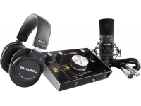 M-Audio M-Track 2x2 Vocal Studio Pro   M-Audio M-Track 2x2 Vocal Studio Pro com Resposta de Frequência: 20 Hz – 20 kHz (+0,1 dB)  Faixa Dinâmica: 104 dB (A-weighted)  Relação Sinal-Ruído: 104 dB (+1,0 dBu, ponderado A)  THD + N: 0,003%  PREAMP EIN -128 dBu (ganho máximo, fonte de 150 Ω, A-weighted)  Nível Máximo de Entrada: +1,5 dBu  Alcance de Ganho: 55 dB  1 Entrada de linha (balanceada 1/4″ TRS)  Resposta de Frequência: 20 Hz – 20 kHz (+0,05 dB)  Relação Sinal-Ruído: 101 dB (1 kHz, +4 dBu, ponderado A)  THD + N: 0,003%  Nível Máximo de Entrada: 16 dBu  Alcance de Ganho: 55 dB  2 Entradas para Instrumento (desbalanceadas 1/4″ TS)  Resposta de Frequência: 20 Hz – 20 kHz (+0,05 dB)  Faixa Dinâmica: 100 dB (ponderado A)  Relação Sinal-Ruído: 102 dB (+ 4 dBu, ponderado A)  THD + N: 0,004%  Nível Máximo de Entrada: 6 dBu  Impedância de Entrada: 1 MΩ  Alcance de Ganho: 24 dB  Principais saídas, L e R (balanceado, diferencial 1/4″ TRS)  Resposta de Frequência: 20 Hz – 20 kHz (+0,06 dB)  Faixa Dinâmica / Relação Sinal-Ruído: 102 dB (ponderada A)  THD + N: 0,005%  Nível Máximo de Saída: +7 dBu (1 kHz, -1 dBFS)  Saída de fone de ouvido: (impedância balanceada 1/4″ TRS)  THD + N: 0,005%  Impedância de Saída: 10 Ω  Alimentação: USB-bus-powered  Dimensões (LxPxA): 15,2cm x 7,1cm x 19,8cm  Peso: 3,03kg