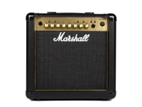 Marshall MG15GFX  Diseño icónico de Marshall  El Marshall 15W MG15GFX Gold es un práctico amplificador táctil que tiene un tono real de Marshall y se ve bien. Con su icónico panel frontal 'dorado' y el logotipo de script, el MG15GFX ofrece una pequeña pieza de la herencia Marshall en un paquete táctil para llevar. Con 4 canales, 2 tipos diferentes de overdrive y una sección de efectos maestros, el MG15GFX es el amplificador ideal para el guitarrista progresivo o para los músicos que exigen una combinación de prácticas de calidad.  Versatilidad de 4 canales  MG15GFX cuenta con 4 canales para que pueda lograr tonos limpios y crujientes, lo que le permite reproducir todos los géneros de música, desde pop claro hasta rock y metal muy distorsionados. Los primeros dos canales ofrecen sonidos claros / crujientes, mientras que los canales OD1 / OD2 'rojo' y 'verde' proporcionan dos niveles diferentes de sonido de saturación. Estos canales pueden cambiarse manualmente o almacenarse como preajustes y cambiarse usando el pedal remoto opcional. El ecualizador de 3 bandas le permite personalizar su salida tonal a través del altavoz liviano de 8 'y los 15 vatios de potencia proporcionarán suficiente volumen para interferir con sus amigos.  Efectos a bordo  El MG15GFX tiene 5 efectos digitales diferentes para elegir con un maestro de reverberación separado. El dial FX le permite elegir entre los efectos Chorus, Phaser, Flanger, Delay y octava. Esto le brinda un gran potencial para explorar nuevos sonidos sin tener que comprar unidades de efectos externos. El efecto de reverberación es independiente y proporciona un ambiente exuberante sobre su sonido.  Practica la perfección  Este amplificador también incluye una salida de auriculares para una práctica silenciosa, junto con una entrada auxiliar; ideal para interferencia a lo largo de tus pistas favoritas. Las dimensiones compactas del MG15GFX lo convierten en el amplificador perfecto para la práctica y para transportar prácticas d