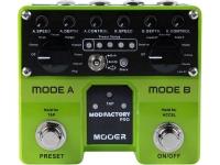 """Mooer Mod Factory Pro   Mooer Mod Factory Pro   11 efeitos de modulação diferentes em um único micro PEDAL    Chip DSP 32 bit de alta performance    Design analógico    Componentes de alta qualidade    Controles CTRL1, CTRL2. DEPTH    True Bypass para a passagem pura do sinal quando está desabilitado    LED indicador de funcionamento    Robusto, compacto e leve    Entrada: Jack mono de 1/4 """"(impedância 1M Ohms)    Saída: jack mono de 1/4 """"x2 (impedância de 100 Ohms)    Taxa de amostragem: 44.1K    Precisão de amostragem: 24bit    Fonte de alimentação: fonte de alimentação CC de 9V 300mA (pino central negativo)    Consumo de energia: 250mA Tamanho: 106mm (D) X96mm (W) X53mm (H)    Peso: 400g"""