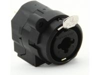 Neutrik NCJ6FIS  Conector Adaptador XLR 3 pines hembra x estéreo P10 hembra (Jack) | Combo  Conector hembra de 4 polos. Contacto plateado. Fácil de montar con solo 4 partes. Diseño compacto con estructura de fundición resistente, fibra de vidrio reforzada con plástico inyectado y bloqueo de tensión para la fijación de todo tipo de cables.  Caracteristicas  Tipo de conexión: Combo  3 polos hembra.  Clasificación de corriente de contacto (XLR): 7.5 A  Clasificación de corriente de contacto (Jack): 7.5 A  Tensión nominal: 50 V  Stahl Ck67 Lock  Peso: 0.010 Kg  Dimensiones (L x W x H): 4.5 x 4 x 3