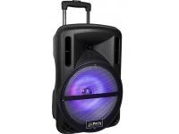 """Party Light & Sound PARTY-MEETY10    Party & Light Sound PARTY-MEETY10  Coluna amplificada 10"""" trolley c/ 500W  Leitor multimédia USB/SD/FM e Bluetooth   Woofer10 '' / 25cm-100Hz    Potência de saída 500W    Faixa de freqüência de 45Hz a 17kHz   Estrutura em ABS Preta c/ grelha metálica  Coluna Trolley c/ rodas, iluminação LED  Bateria Li-ion 7.4V 2.2Ah, 305x280x480mm"""