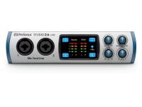 Presonus Studio 26   Presonus Studio 26 Interface de áudio USB 2.0 com 2 entradas e 4 saídas, equipada com 2 pré amplificadores XMAX-L solid-state e conversores de alta qualidade e desempenho 24-bit/192 kHz, entrada e saída MIDI e saída para fone de ouvido.