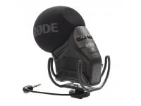 Rode Stereo Video Mic Pro   RodeStereo Video Mic Pro  Microfone estéreo de condensador  Auto-alimentado através de pilha de 9V  Frequência de resposta: 40 Hz – 20 kHz  Peso: 115 gramas  Atenuador de 10 dB's (regulado na parte traseira)  Filtro passa-alto para corte de frequências graves indesejadas  Amplificador/boost de 20 dB para utilização em câmadas DSLR