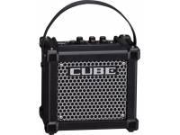 Roland Micro Cube GX BK  Amplificador de Guitarra Combo Roland Micro Cube GX BK (preto)   Um amplificador de guitarra ultracompacto, com um altifalante de design exclusivo  Oito tons de amplificador COSM, incluindo o ultra pesado amplificador EXTREME  Oito efeitos DSP, incluindo HEAVY OCTAVE e DELAY/REVERB dedicado com emulação de reverb de mola  Função MEMORY (Memória) para guardar as suas definições de amplificador e efeitos favoritas  A ligação i-CUBE LINK faculta uma interface de áudio simples para comunicação com os dispositivos iPhone, iPad e iPod touch da Apple (cabo de interface incluído)  A aplicação CUBE JAM, gratuita para iOS, reproduz músicas e faixas de acompanhamento para praticar, além de lhe permitir gravar os tons de amplificador COSM do MICRO CUBE GX em conjunto com a reprodução musical  Afinador cromático integrado  O Roland Micro Cube GX BK tem alimentação através de pilhas ou do transformador CA incluído; alça de transporte incluída