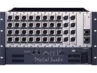 Roland S-4000S-0832    Os 40 canais de I/O (entrada/saída) de rack modular é configurado para ser usado na House Mix para conexão com a console com cabos XLR. Esta configuração deve ser usado com um color S-4000S-3208 no palco.