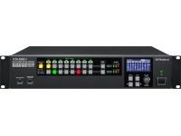 Roland XS-82H    O Matrix Switcher AV Multi-Formato Roland XS-82H 8×2 foi projetado para instalações fixas que exigem conversão e conversão de vídeo e áudio integradas de alta qualidade.    O XS-82H é adaptável, suportando oito entradas HDMI, RGB / Componente / S-vídeo / Composto e até 2 saídas HDMI ou HDBaseT com scalers para suportar picture-in-picture, redimensionar, girar e inverter. O áudio pode ser incorporado em saídas através de 8 entradas de áudio estéreo (2 mic) e / ou áudio HDMI, bem como áudio HDMI embutido na saída. Recursos adicionais incluem controle de iPad, emulação EDID e gerenciamento HDCP.