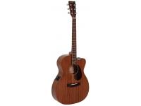 Sigma Guitars 000MC-15E    O Sigma 000MC-15E Electro Acoustic Guitar Natural é feito de mogno e, portanto, oferece excelente ressonância e integridade estrutural. A escala indiana de rosewood conectada ao suave pescoço de mogno garante um alto padrão de jogabilidade. As máquinas de afinação abertas da Grove estão incluídas, permitindo que os jogadores se concentrem em suas jogadas, em vez de se preocuparem com a precisão ou estabilidade de sua afinação.