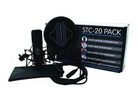 Sontronics STC-20-Pack   Sontronics STC-20 Pack  STC-20: Microfone de condensador de membrana larga  Padrão Polar: Cardióide  Cápsula: Uma polegada, provida de ouro  Resposta de freqüência: 20Hz a 20kHz  Sensibilidade: 16mV/Pa? ±2dB 35dB (0dB = 1V/Pa @ 1, 000Hz)  Impedância: 200 Ohms  Nível de ruído equivalente: 18dB (ponderação)  Max. SPL: 120dB (para 0,5% THD @ 1, 000Hz)  Fonte de energia: Phantom power 48V ±4V  Conector: XLR de três pinos (cabo incluído)  Dimensões: 194 x 53 x 53 mm  Peso: cerca de 596 g  Pack inclui para além do microfone: suporte tipo aranha, popshield, cabo XLR de 5 m, bolsa de fecho de correr.