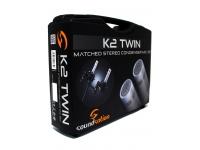 Soundsation K2 TWIN   O K2 TWIN é um poderoso recurso para todos que precisam de um microfone condensador stereo para gravação de estúdio profissional. Os 2 microfones cardióides estão equipados com diafragmas de alta qualidade e em cada unidade é possível controlar o ganho (0: -10dB), bem como o filtro roll-off.