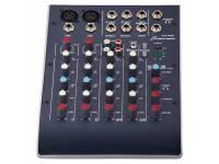 """Studiomaster C2-2   6 Canais: 2x preamp de micro, 2x Linha Stereo;  EQ de 2 bandas, Auxiliar Send e Pan para cada canal de micro;  Saída Main Mix em Jack TRS 6.35mm (1/4"""");"""