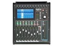 Mesas de mistura digitais Studiomaster Digilive 16   16 entradas com 16 bus internos  12 entradas para microfone  8 faders motorizados de 100mm