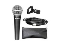 Studiomaster KM92   Studiomaster KM92  Microfone vocal dinâmico com cabo com padrão polar cardióide da série KM que combina saída de som clara e intensa e sensibilidade de ruído reduzida  Graças a uma ampla resposta de frequência de 60 a 15000 Hz, proporciona uma qualidade elevada do som  Ele tem uma construção de liga de zinco de fundição, resistente, que resiste até mesmo um manuseio áspero  O microfone também é equipado com um cabo XLR-XLR balanceado de 5 m de comprimento, um clip de suporte e uma caixa de zip suave  Impedância: 500 Ohm  Sensibilidade: -54 dB + 3 dB  Dimensões: 170 x 52 mm  Peso: 278 g