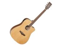 Guitarra Acústica eletrificada 4/4 Tanglewood TW10  Guitarra Dreadnought Winterleaf TW10 Folk Cutaway Elétrico Tanglewood    Tipo: Dreadnought Cutaway  Tampo: Cedro Maciço  Fundo: Mogno  Laterais: Mogno  Braço: Mogno  Tarraxas: Cromadas Die Cast  Acabamento: Natural Encerado  Captação: B-Band M450-T  Encordoamento: D'Addario EXP11