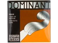 Thomastik Dominant Violin 3/4 medium  Conjunto de cordas para violino  Tensão: Média  Para violino 3/3  E-String: núcleo de aço ferida de alumínio  A e D-String: núcleo sintético de ferida de alumínio  G-String: núcleo sintético ferida de prata  Com bola  Definir 135 3/4 Médio